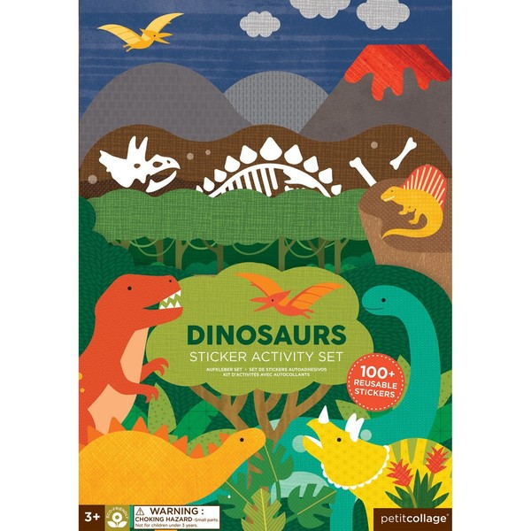 Petitcollage Znovupoužitelné samolepky se scénou Dinosauři