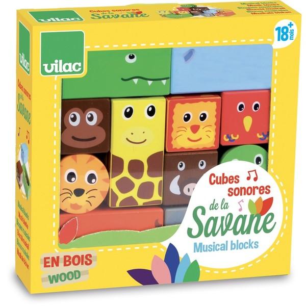 Vilac Dřevěné zvukové kostky Savana