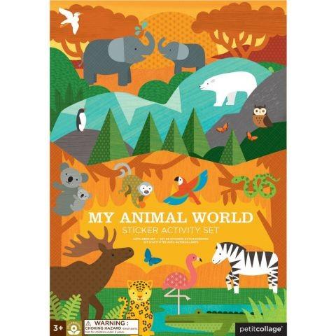 Petitcollage Znovupoužitelné samolepky se scénou Můj svět zvířat