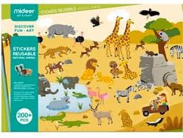 MiDeer Znovupoužitelné samolepky Zvířata
