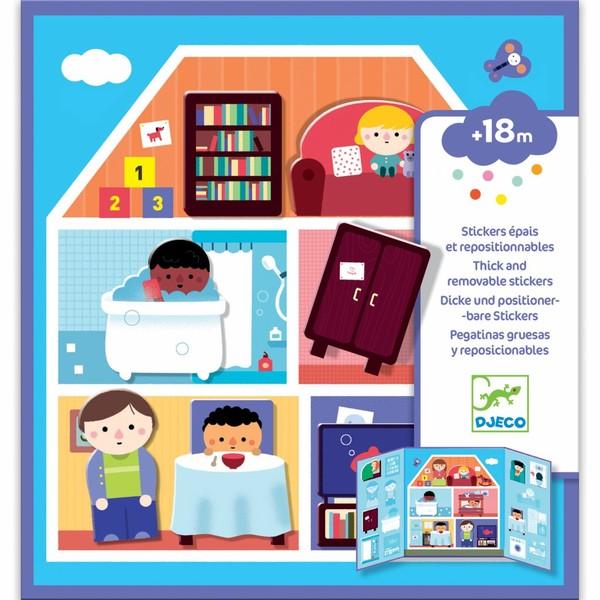 Djeco Přemístitelné samolepky pro nejmenší Domov