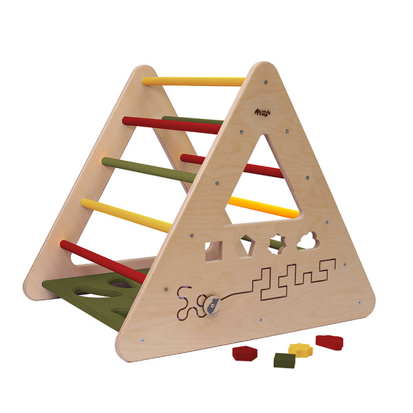 Montessori Piklerové trojúhelník s activity board stěnou -zelená/žlutá/červená