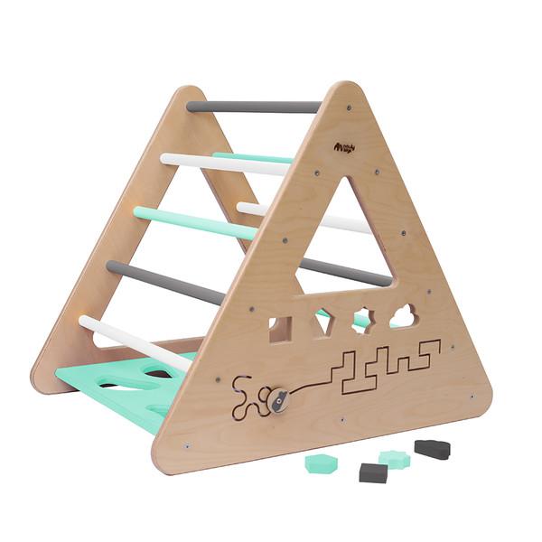 Montessori Piklerové trojúhelník s activity board stěnou - mentolová/bílá/šedá