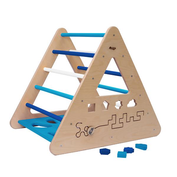 Montessori Piklerové trojúhelník s activity board stěnou sv.modrá/modrá/bílá