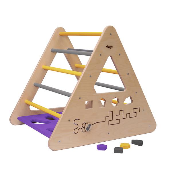 Montessori Piklerové trojúhelník s activity board stěnou - fialová/žlutá/šedá