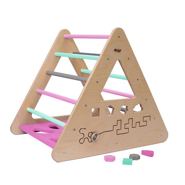 Montessori Piklerové trojúhelník s activity board stěnou - mentolová/růžova/šedá