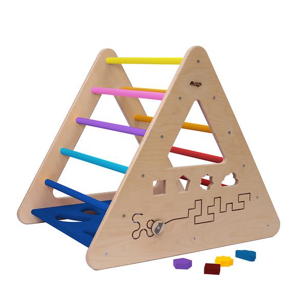 Montessori Piklerové trojúhelník s activity board stěnou duhový